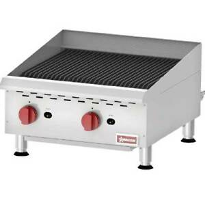 Omcan 43727 Charbroiler Countertop Gas Radiant 24 Wide 40 000 Btu Every 6