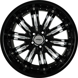 4 Wheels 20 Inch Stagg Black Chrome Narsis Rims Fits Mitsubishi Evo X Widebody