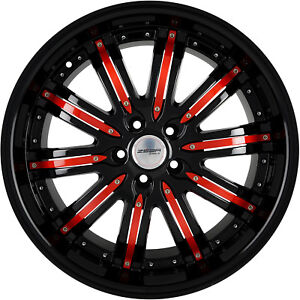 4 Gwg Wheels 20 Inch Stagg Black Red Narsis Rims Fits Mitsubishi Evo X Widebody