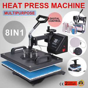 8in1 Digital Heat Press Machine Transfer Swing Away Clamshell Printing Pro