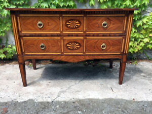 Small Louis Xvi Inlaid Chest Of Drawers With 2 Drawers Restored In Progress