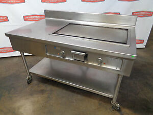 60 All Stainless Steel Work Table With Wells 34 Electric Griddle On Casters