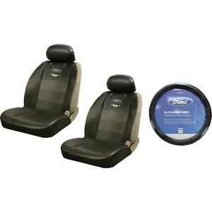 2 Ford Mustang Synthetic Leather Sideless Seat Covers Steering Wheel Cover Car