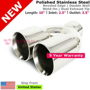 Stainless Staggered Dual Polish 10 Inch Weld Exhaust Tip 2 5 In 3 5 Out 213226