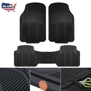 3pc Rubber Car Floor Mats Universal Auto Mat Liner Carpet Waterproof All Weather