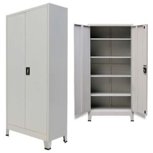 Metal Office Storage Filing Cabinet 2 Door Lockable Cupboard 5 Shelves Furniture