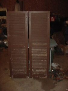 Vintage Wood House Window Shutters Lot Of 2 Brown Chippy Paint 59 1 2 X 17 1 2