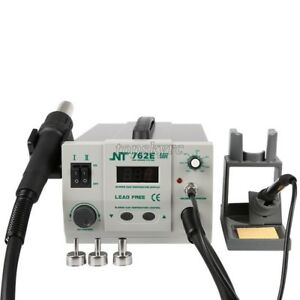 2 In 1 Soldering Rework Station Hot Air Gun Soldering Iron Led 3 Nozzles