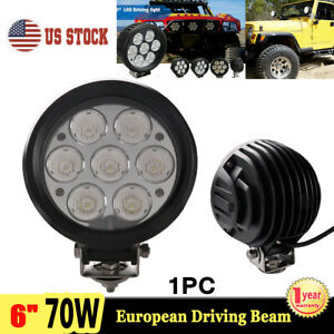 6inch 70w Round Led Work Light Europen Driving Fog Head Lamp Offroad 4x4 Suv Atv