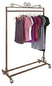 Clothing Rack Rolling Boutique Salesman Garment Casters Copper Finish 48 66 H