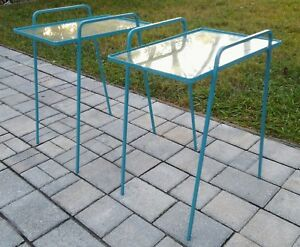 2 Vintage Stacking Tables Nesting Patio Glass Hairpin Legs Boho Mid Century