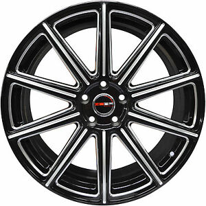 4 Gwg Wheels 20 Inch Black With Mill Mod Rims Fits Ford Mustang Gt 2005 2017