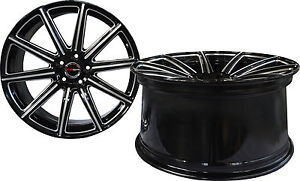 4 Gwg Wheels 20 Inch Staggered Black Mill Mod Rims Fits Ford Mustang V6 2015 18