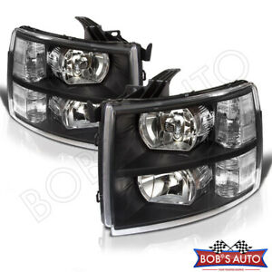 For 07 13 Silverado 1500 Black Oe Style Replacement Headlights Headlamp Assembly