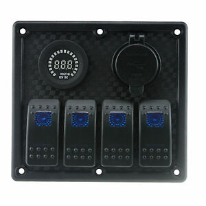 Waterproof 4 Gang Car Boat Marine Rocker Switch Panel Led Usb Charger Socket