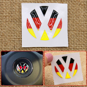 Fit For Vw Car Steering Wheel 3d Epoxy German Flag Emblem Badge Sticker Decal