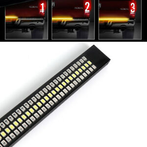 60 Triple 1200 Led Bar Tailgate Amber Sequential Turn Signal Brake Stop Light