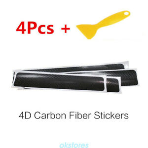 New 4x Rubber Carbon Fiber Car Front Bumper Strip Protector Anti Rub Sticker Or1