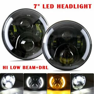 Pair 7 Inch Led Front Headlight Angel Eye Halo Drl For Jeep Wrangler Jk 07 17