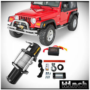 Win 2x 6000lb 12v Electric Recovery Waterproof Winch Kit W Steel Cable