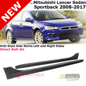 Rocker Molding Side Skirts Evo Style For 2008 2017 Mitsubishi Lancer Left Right