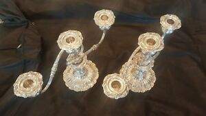 Pair Of Sterling 3 Candle Reed Barton Francis The 1st Weighted Candelabras