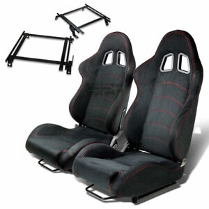 Type 1 Racing Seat Black Suede Silder Rail For 02 06 Acura Rsx Dc5 Bracket X2