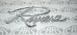 1964 1965 Buick Riviera Trunk Script Rear Body Emblem New Oem 1365686 4485658