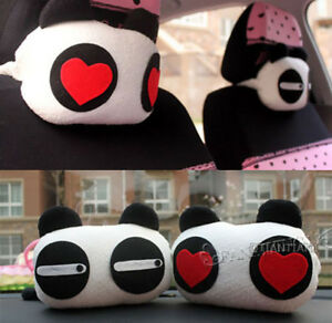 Ci016 2pcs Plush Cute Panda Eyes Car Head Neck Rest Pillow One Pair