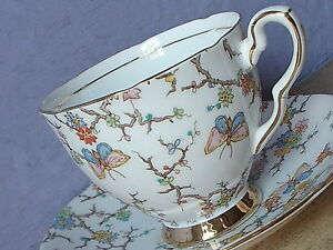 Vintage England Bone China Hand Painted Butterfly Tea Cup Teacup