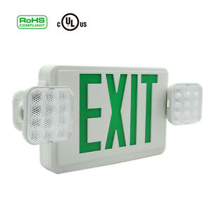 Led Combo Emergency Exit Sign W 2 Heads Lights And Battery Safety Lights Green