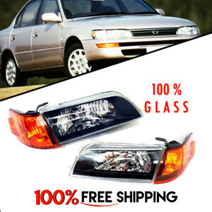 Toyota Corolla Jdm Version Headlights Glass Black Housing 4 Pack For 93 To 97