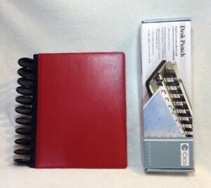 Levenger Red Circa Leather Foldover Notebook Letter Size Plus Paper Punch