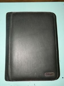 Franklin Covey Black Leather Zip Around Classic Binder Planner 7 Rings 1 5