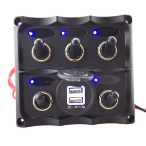 5gang Switch Panel On off Car Usb Port Charger Socket 12 24v Waterproof Boat