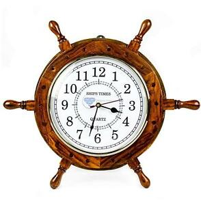 Nautical Moon Light Blue Large Wooden Ship Wheel With Ship S Time Captain S Cloc