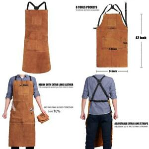 Leather Welding Apron With 6 Pockets For Men Heavy Duty Flame Resistant Durable