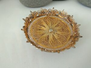 Solid Silver Chinese Filigree Gold G P Export Dish
