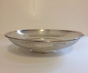 Antique Sterling Silver Bread Basket Round Reticulated Manchester Mfg Co