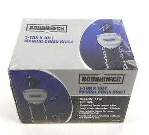 Roughneck 1 Ton Manual Chain Hoist 10ft Lift Dual Chains Outdoor indoor Use New