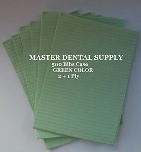 500 Disposable Patient Bibs Green Dental Tattoo Medical Spa 2 1 Ply 13 X 18