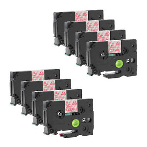 8 Pack Red On Clear Tape Label For Brother Tz Tze 132 Tze132 P touch 12mm 1 2