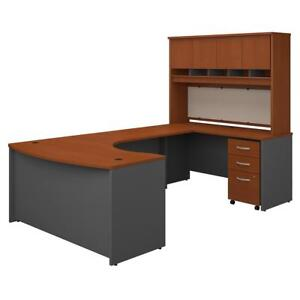 Series C 60w Right Handed Bow Front U Shaped Desk With Hutch And Storage