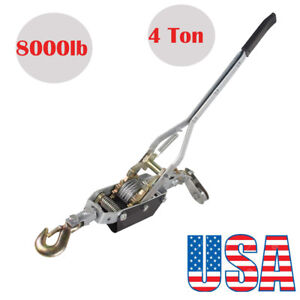 4 Ton 8 000lb Come Along Hoist Ratcheting Cable Winch Hand Puller Crane Pulling