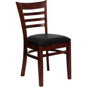 Ladder Back Mahogany Wood Restaurant Chair Black Vinyl Seat
