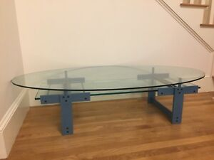 Pace 90 S Glass Coffee Table With Blue Gray Legs And Magazine Shelf Euc