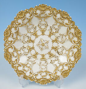 Meissen Gold On White Embossed Bowl Antique German Porcelain 10 5 First Quality