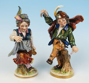 Pair Quality Antique Capodimonte Dancing Peasant Figurines Ginori Porcelain Lady