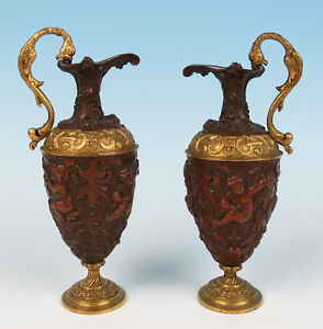Pair 19thc Finely Detailed French Patinated Gilt Bronze Ewers Putti Antique