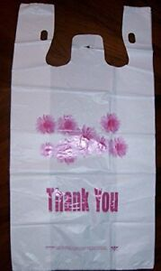 Grocery And Retail T shirt Shopping Bag 1 6 Size Daisy Print Thank You 24 Mic